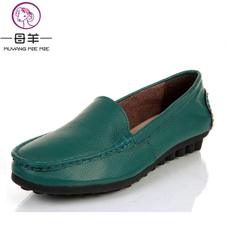 Plats Blue En De Mode Muyang vert Pour Décontracté noir Plat rouge Mocassins navy Beige Véritable Femelle Chaussures 2019 Femmes Travail Simples Mie Cuir xg8w8Ra