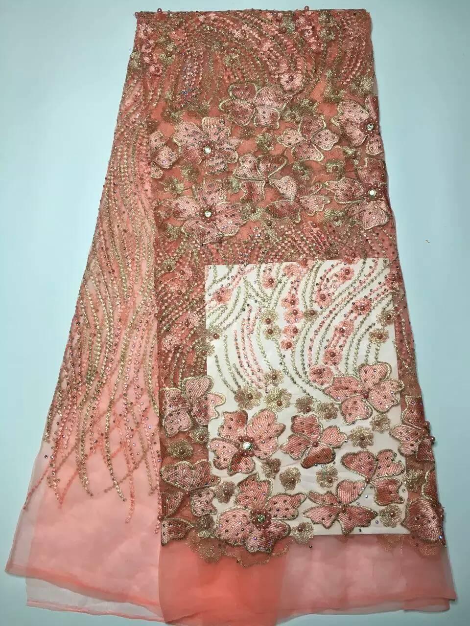 ჱSuiza bordada tela de encaje francés con un montón granos material ...