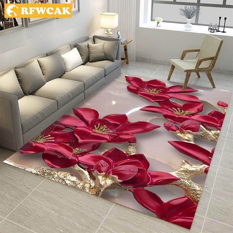 3D Carpets Chinese National Flower Ink Painting Living Room Bedroom Rug Sofa Coffee Table Mat Yoga Pad Custom Christmas Decor