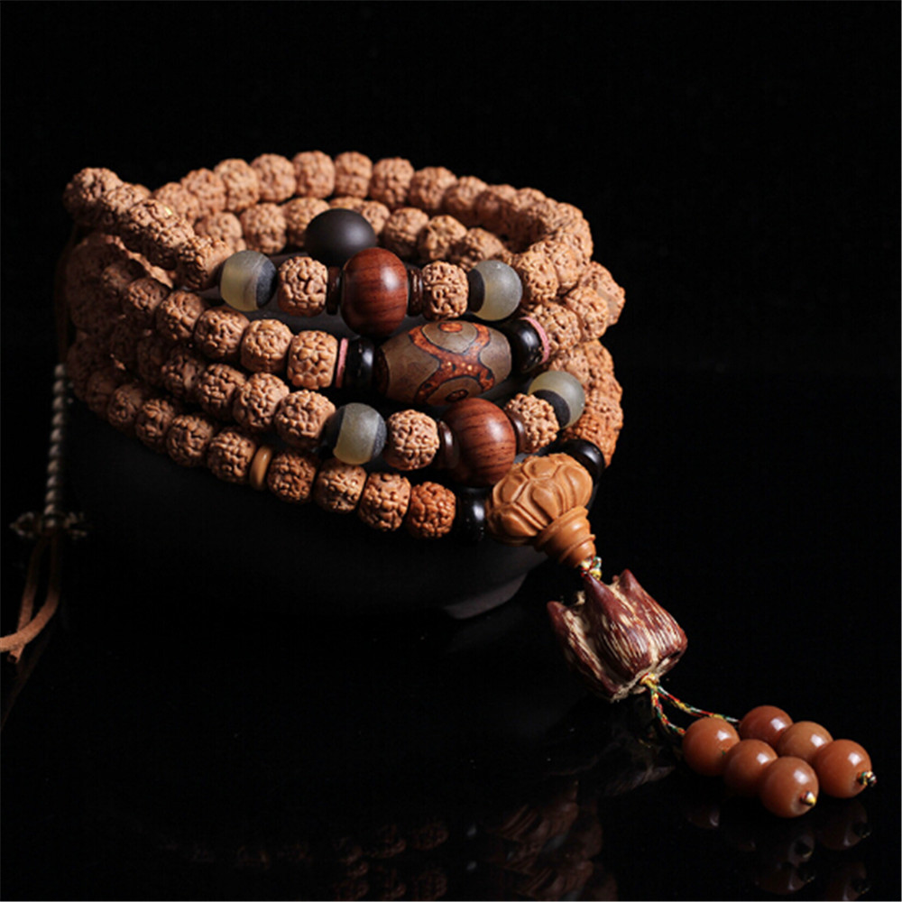 Precious Nepal Natural Meat-grain Rudraksha Bracelet Buddhist 108 Beads 5-petal Rudraksha Mala Necklace Sweater Chain Dropship Precious Nepal Natural Meat-grain Rudraksha Bracelet Buddhist 108 Beads 5-petal Rudraksha Mala Necklace Sweater Chain Dropship