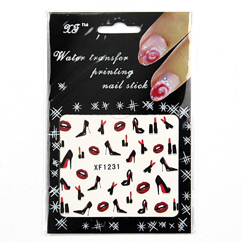 6.3*5.2cm Fashion Water Transfer Nail Art Stickers Decal Mystery high-heeled shoes and lipstick design XF1