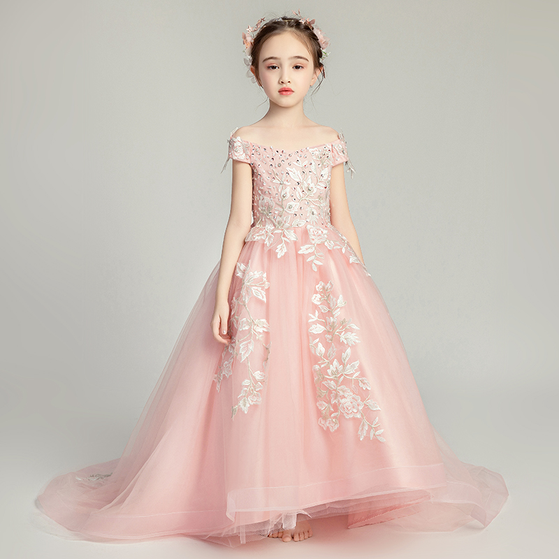 Sequins   Flower     Girl     Dresses   For Weddings Boat Neck Prom Communion Mesh Applique   Dress   Children Trailing Evening Sweet Gowns