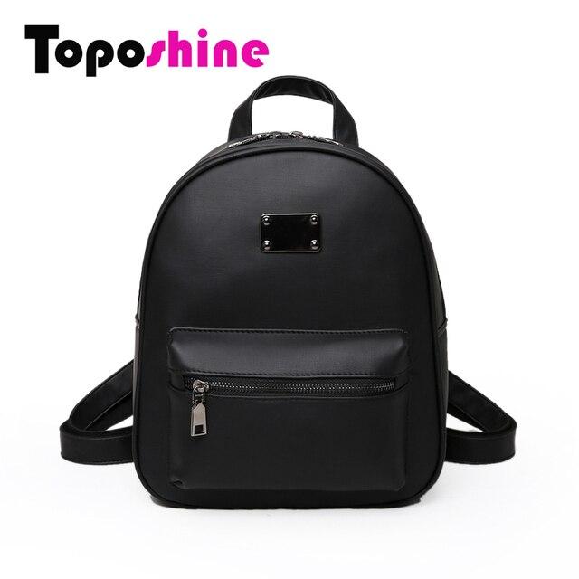 Toposhine Retro Popular Women Backpack Black PU Leather Women's Backpacks Fashion Girls School  Bag Small Female Backpacks 1582