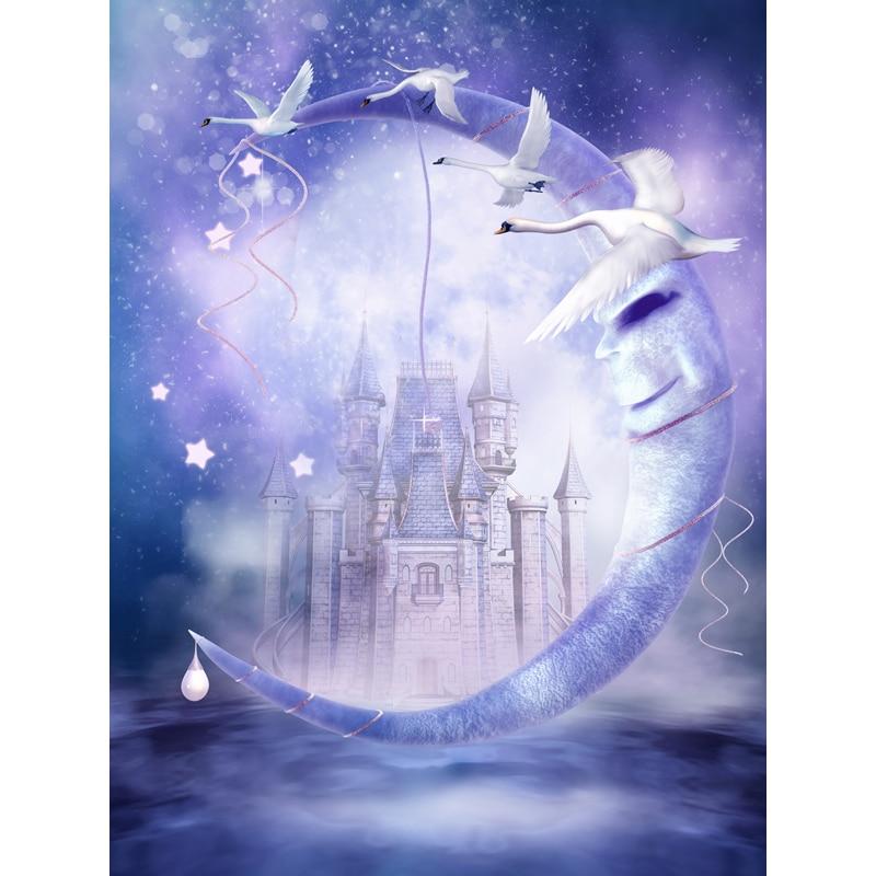 Magic white swans photography backdrops purple moon photo background for photo studio photography backgrounds photophone