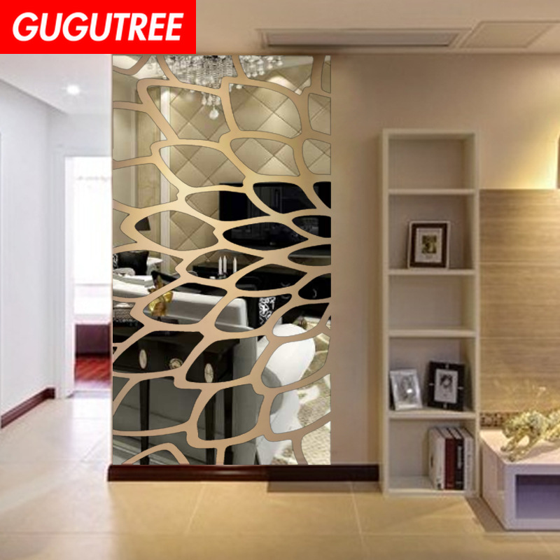 Décorer maison feuille plume art mur miroir autocollant décoration stickers mural peinture amovible décor papier peint LF-1094