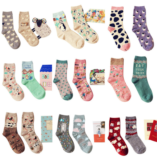 Brand Caramella autumn winter cute cartoon series cotton socks for women fashion animal pattern female socks 2pairs/lot