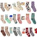Marca caramella otoño invierno serie de dibujos animados lindo modelo animal de la mujer calcetines calcetines de algodón para mujer de moda 2 par/lote