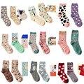 Marca caramella outono inverno bonito série de desenhos animados meias de algodão para as mulheres da moda padrão animal do sexo feminino meias 2 pares/lote