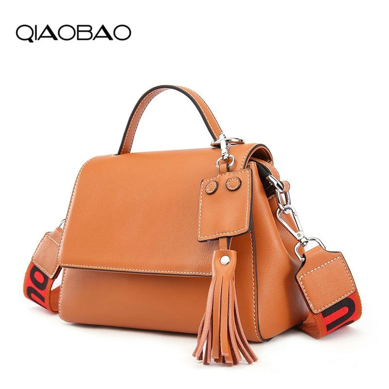 QIAOBAO 2018 New handbags Korean Messenger bag Cowhide Leather handbag casual fashion wide strap tassel shoulder bag Lady Totes