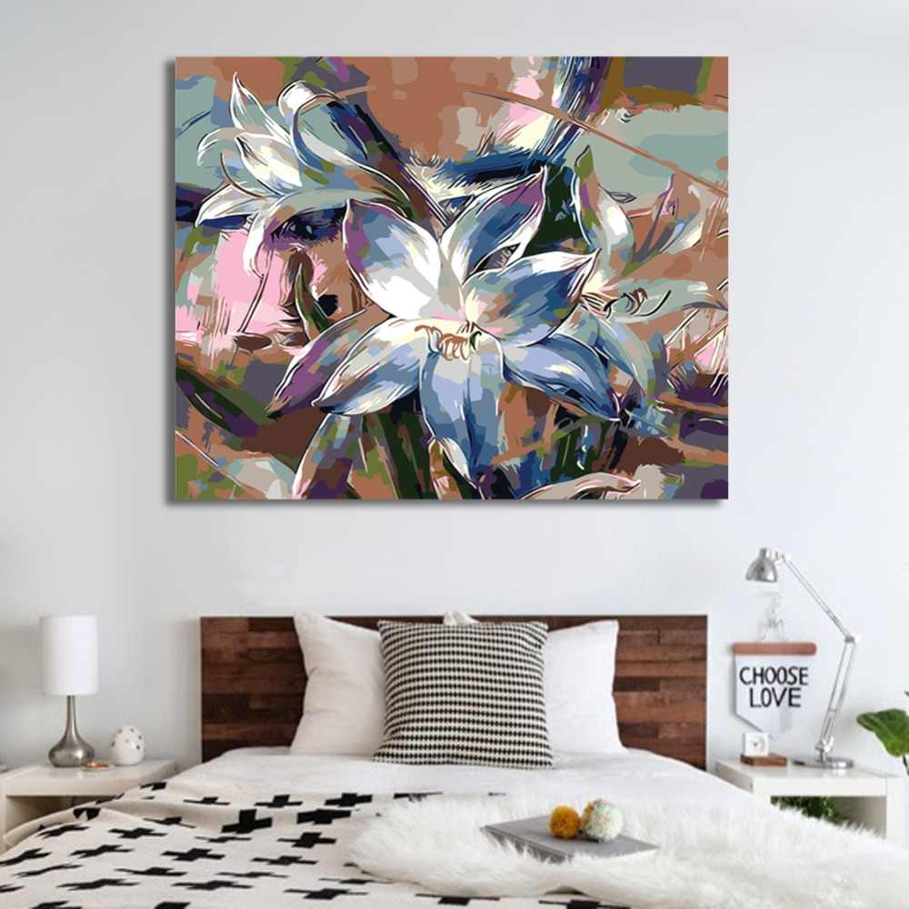WEEN Blue Lily - DIY Paint by Number Kits for Adults, Acrylic Paint ,Wall Art Picture, Painting by Numbers on Canvas 16x20inch