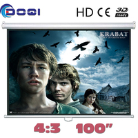 100 DOQI Manual Pull Down Front Projection Screen Wall Mounted Ceiling Format (4:3) Self locking Projector screens Matte White