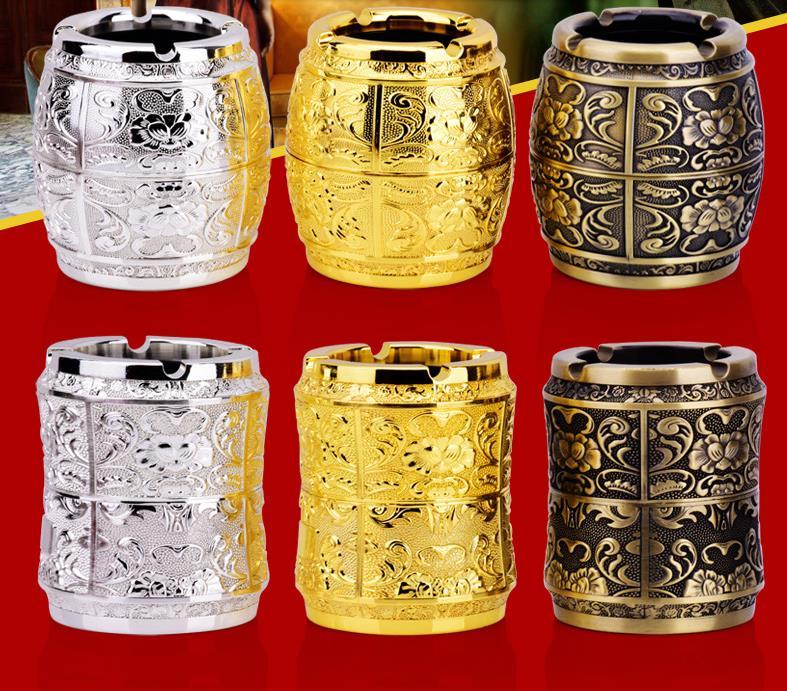 Household Merchandises Ashtrays metal alloy vintage engraving 3D Carve patterns ashtray free shipping