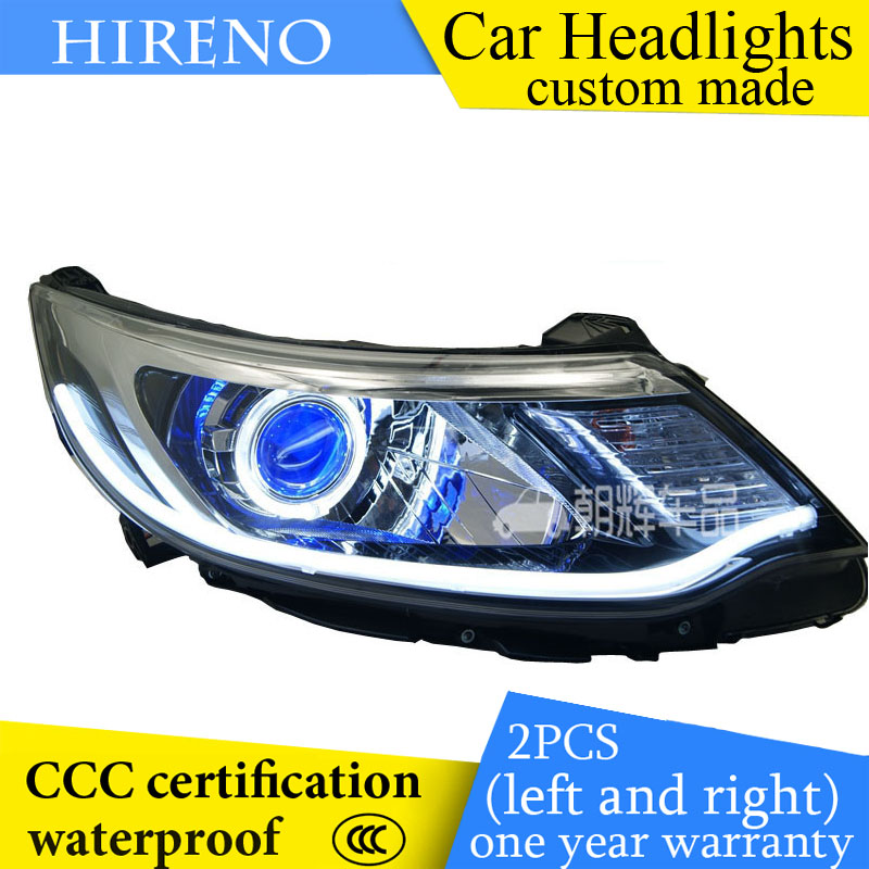 Hireno custom Modified Headlamp for KIA RIO K2 2015 Headlight Assembly Car styling Angel Lens Beam HID Xenon 2 pcs headlight for kia k2 rio 2015 including angel eye demon eye drl turn light projector lens hid high low beam assembly