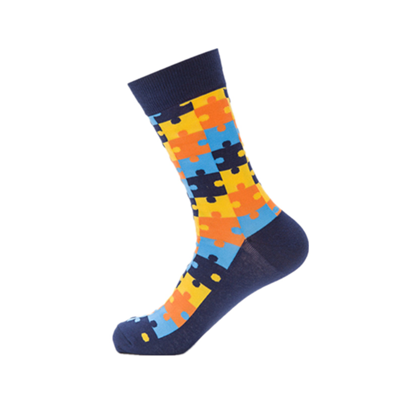 Tide brand men happy   socks   men's casual combed cotton funny   socks   fashion colorful jigsaw puzzle series man long   sock