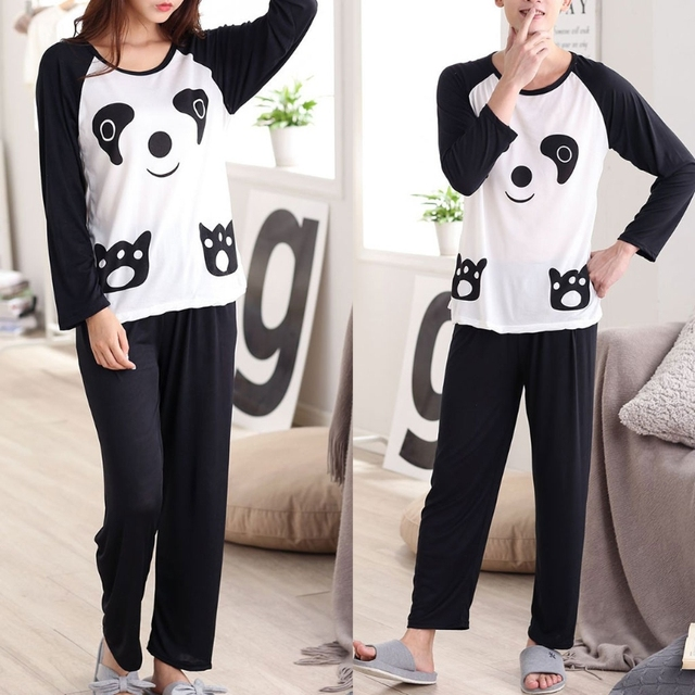 Couples Sleepwear, Panda Cartoon Long Sleeve Pullover Pajamas Set