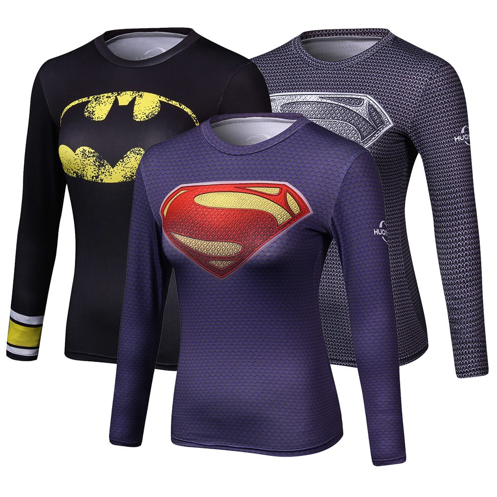 Women Superhero Superman 3D Printed T Shirts Compression Shirt Fitness lady Crossfit Long Sleeve T-Shirt Brand Clothing