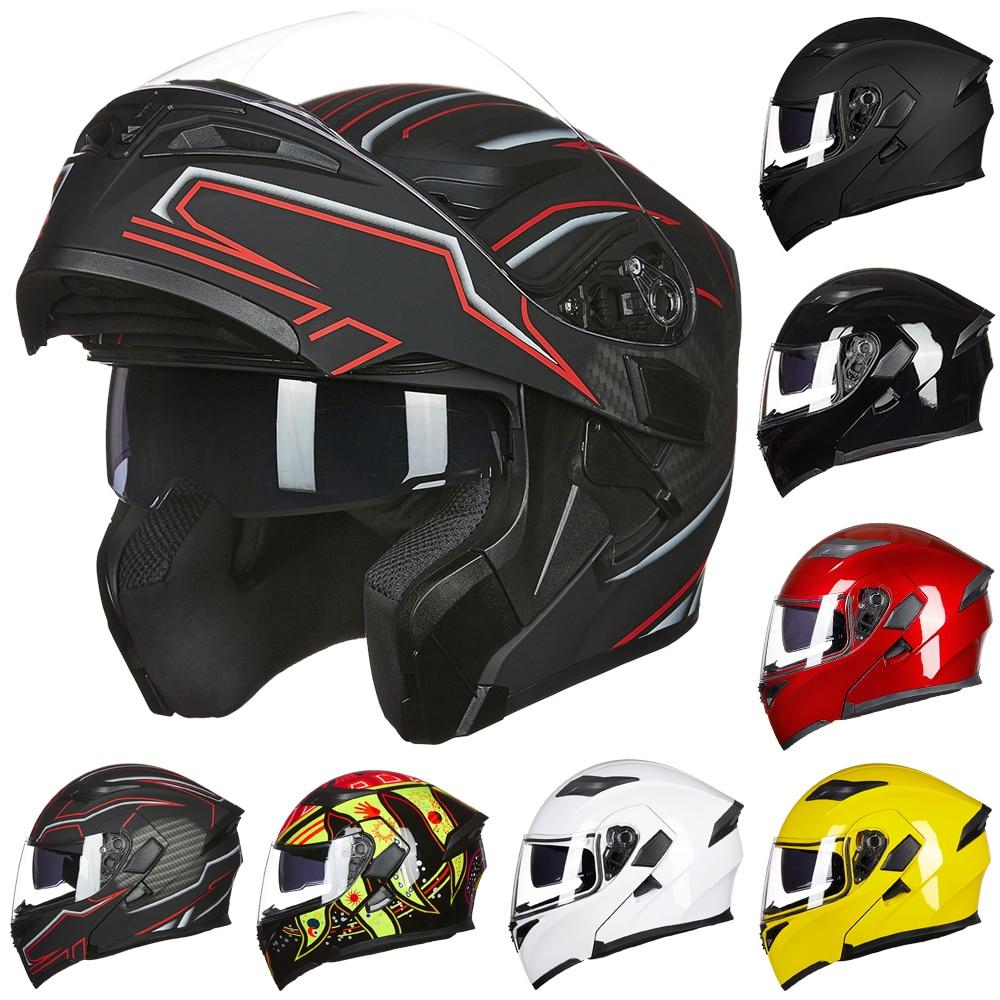 ILM DOT Approved Double Lens Flip Up Motorcycle Helmet Casco Racing Capacete With Inner Sun Visor Matte Black