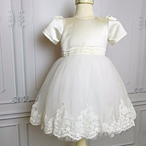 White/ivory lovely satin flower girls dresses with bow kids beauty first communion ball gowns baby birthday gown 2017 best selling custom first communion dresses for girls ball gown white lace with bow flower girl dresses kids pageant gowns
