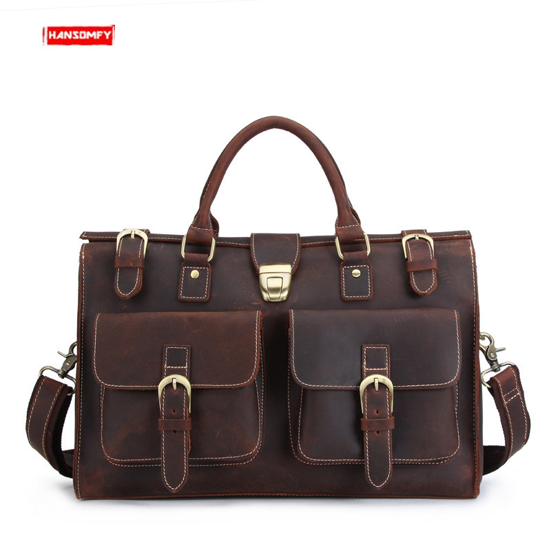 New Crazy Horse Leather Men Handbag 14 Inch Laptop Briefcases  Travel Shoulder Bag Male Retro First Layer Leather Crossbody Bags