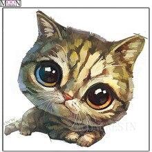 DIY 5D Diamond Painting Cross Stitch Big Eye Cat 3D Mosaic Square Full Drill Embroider Decoration Needlework Kit