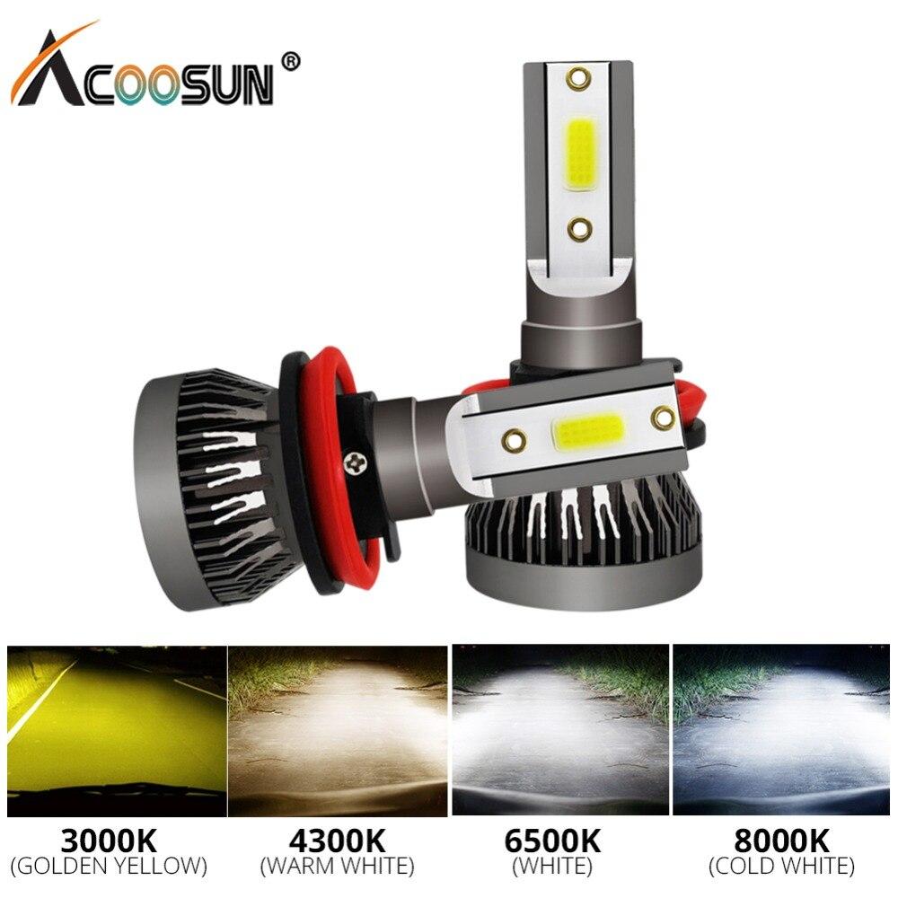 AcooSun LED H7 H1 LED Fog Light LED 3000K 4300K 6500K 8000K H11 H8 H9 9005