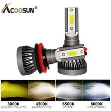 AcooSun светодио дный H7 H1 светодио дный противотуманных фар светодио дный 3000 K 4300 K 6500 K 8000 K H11 H8 H9 9005 9006 HB3 HB4 вождения авто Противотуманные огни для стайлинга автомобилей