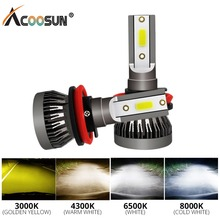AcooSun LED H7 H1 LED Fog Light LED 3000K 4300K 6500K 8000K H11 H8 H9 9005 9006 HB3 HB4 Auto Driving Fog Lamps for Car Styling