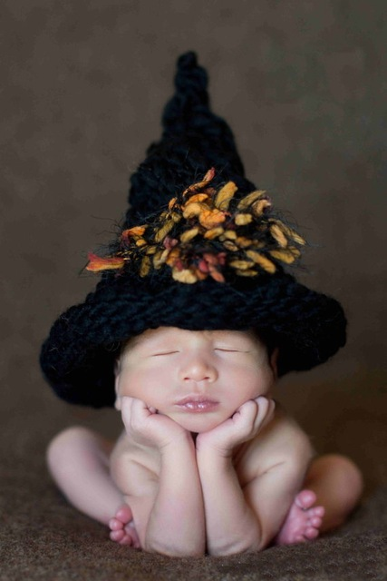 free shippingbaby witch hat newborn crochet photo prop baby clothes girls halloween costume photography