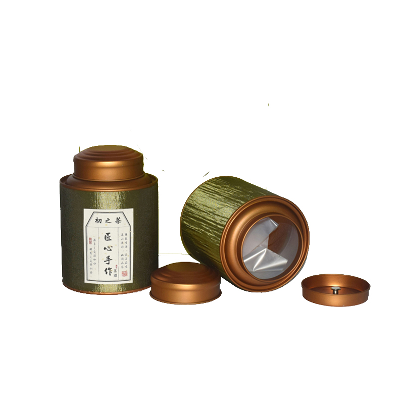 Shandong Xin Jia Yi Packaging Box Silk Ribbon Surface Strong Paper Tube Large Green Tea Can With Double Golden Lid Wholease Cans