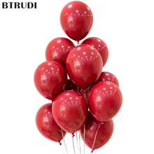 BTRUDI 10 /20/30pcs Ruby red circular latex balloons 5inch 10inch 12inch wedding decorations anniversary balloon birthday party