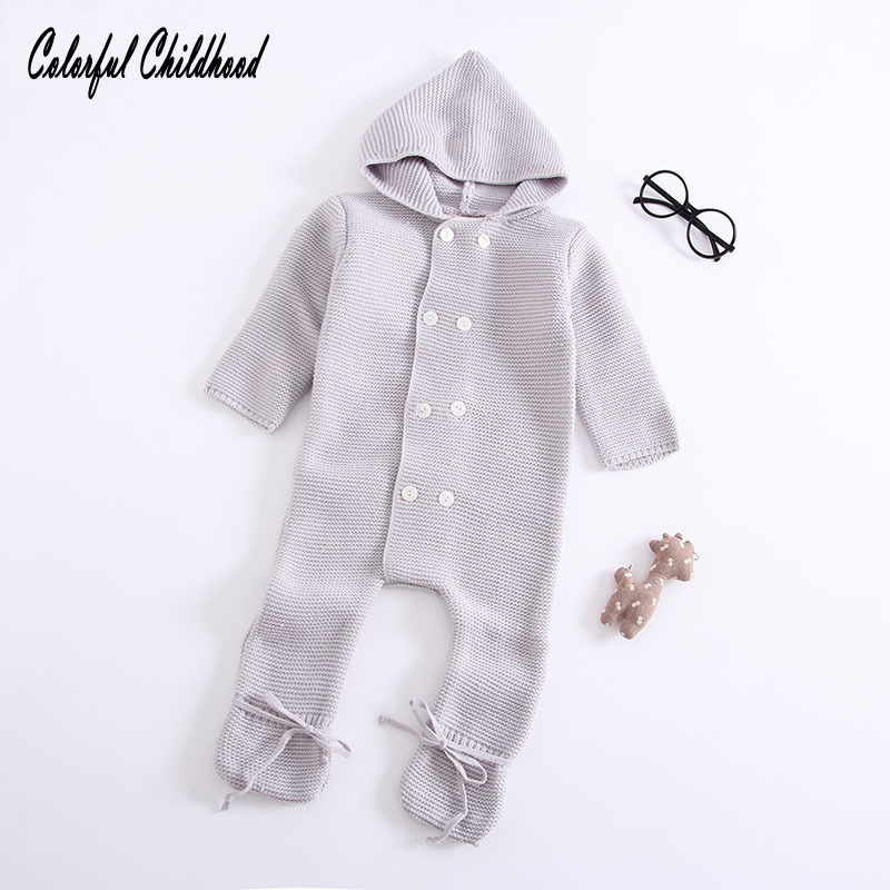 Colorful Childhood Newborn Infant Autumn Winter Baby Girl Boy Warm Thickening Long Romper Outer Clothes For 6m 12m 18m 24m