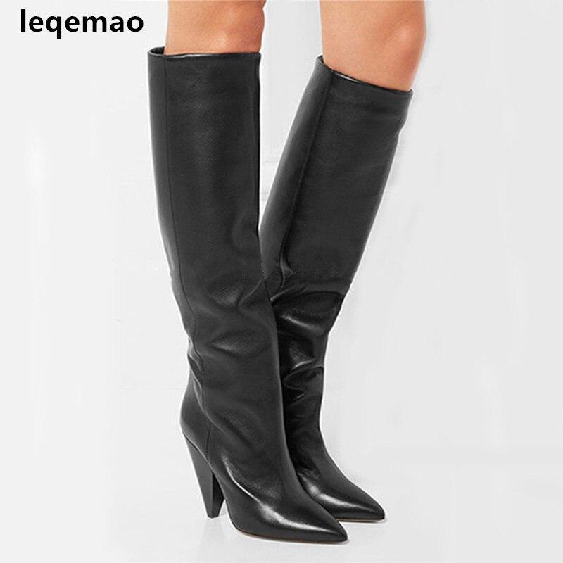 Kniehohe Botas Slip Heels Stiefel Neue Mode 35 40 Schuhe Leder Schwarz Frau Booties Spike Auf Frauen Echtes Spitz Schwarzes Glatte APO48qOx5w