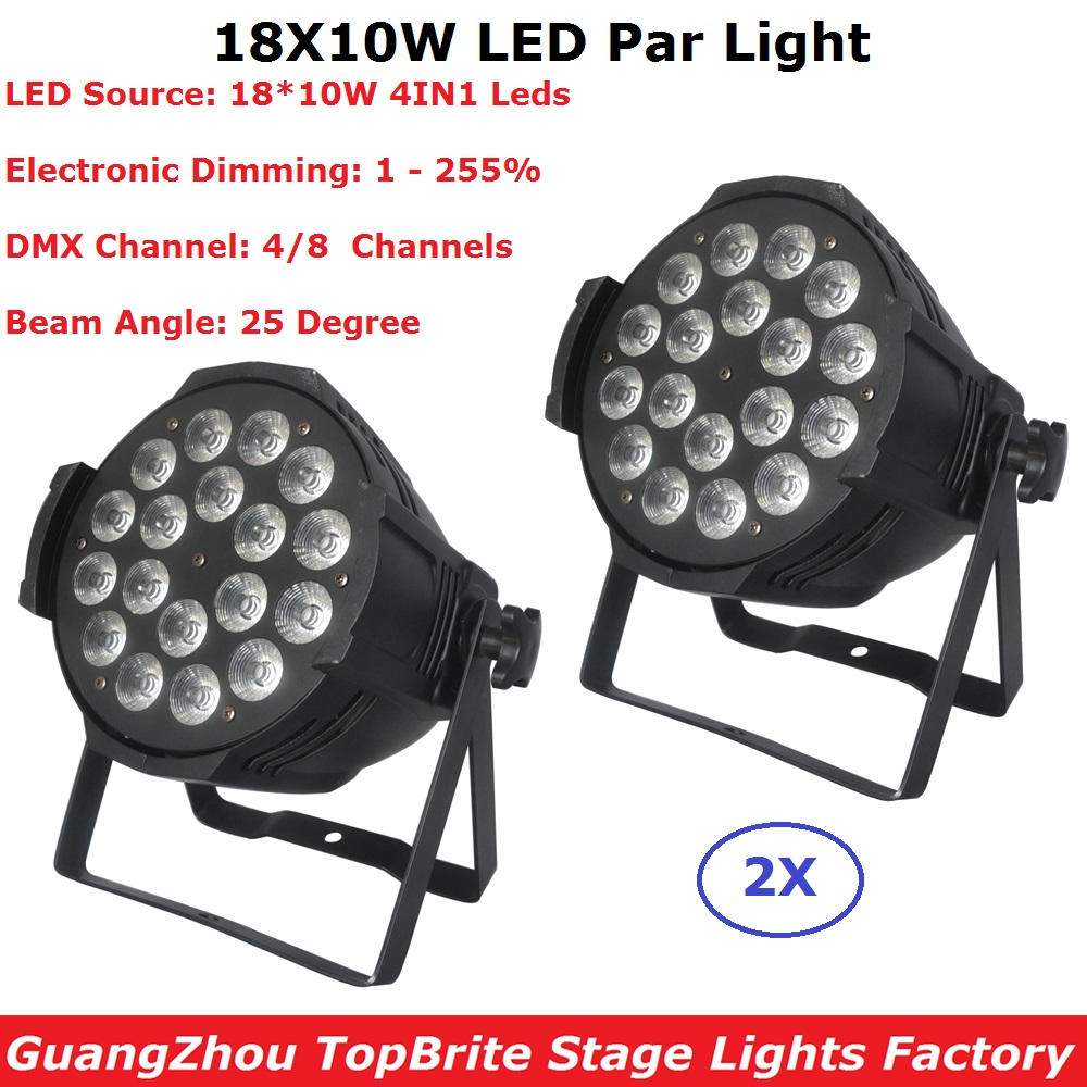 2 Units Aluminum Shell 18X10W RGBW 4IN1 LED Par Lights DMX Stage Lights Professional Dj Show Par Cans For Disco KTV Nightclubs все цены