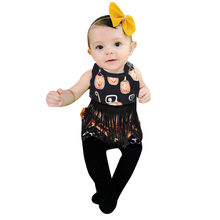 Fashion Clothing Set 2019 children Clothes Infant Baby Girl Backless Pumpkin Print Halloween Tassel Tops+Shorts Outfits Set(China)