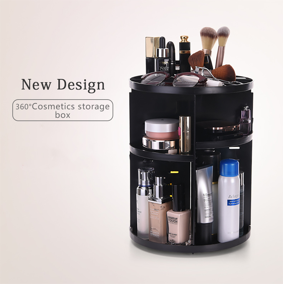360 Degree Rotating Makeup Organizer Multifunction Jewelry Cosmetic Lipstick Brushes Make Up Organizer Plastic Storage Box Case 01