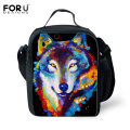3D Zoo Kids Lunch Bags Owl Cat Tiger Wolf Rabbit Lunchbox for Kids Colorful Animals Thermal Lunch Box Picnic Food Bag Insulated