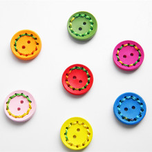 Fashion Colorful Wooden Buttons 8PCS 24 32L 2 Hole craft Sewing Wood Button for Clothing Accessories