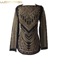 Luoanyfash HIGH QUALITY Newest 2017 Tops Women S Long Sleeve Back Zipper Luxury Handwork Beading Pearl