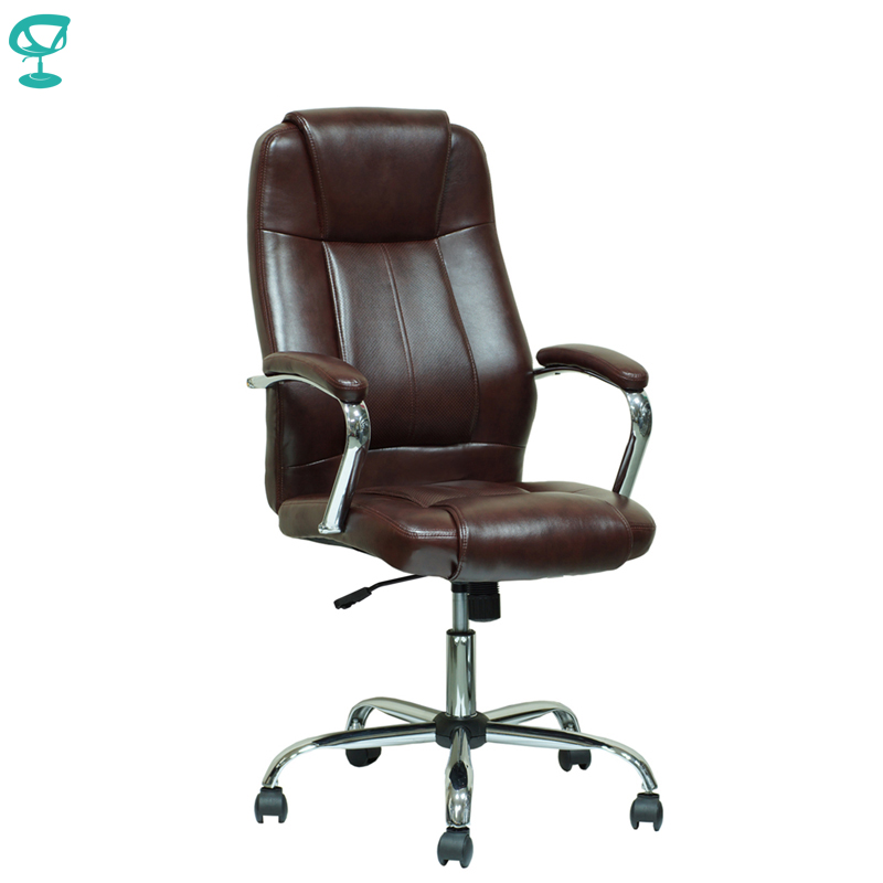 94645 Brown Office Chair Barneo K-1 Perforated Leather High Back Chrome Armrests With Leather Straps Free Shipping In Russia