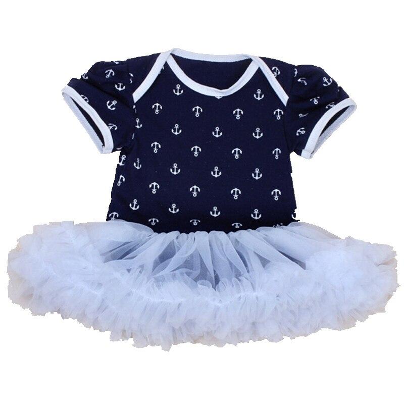 Ancoraggio Navy New Born Baby Pagliaccetti Del Corpo Bebe Tute Bianco Del  Merletto di Petti Vestito Pagliaccetto Vestiti Neonato Ragazza Infantile ... 0d9a25d6f8d