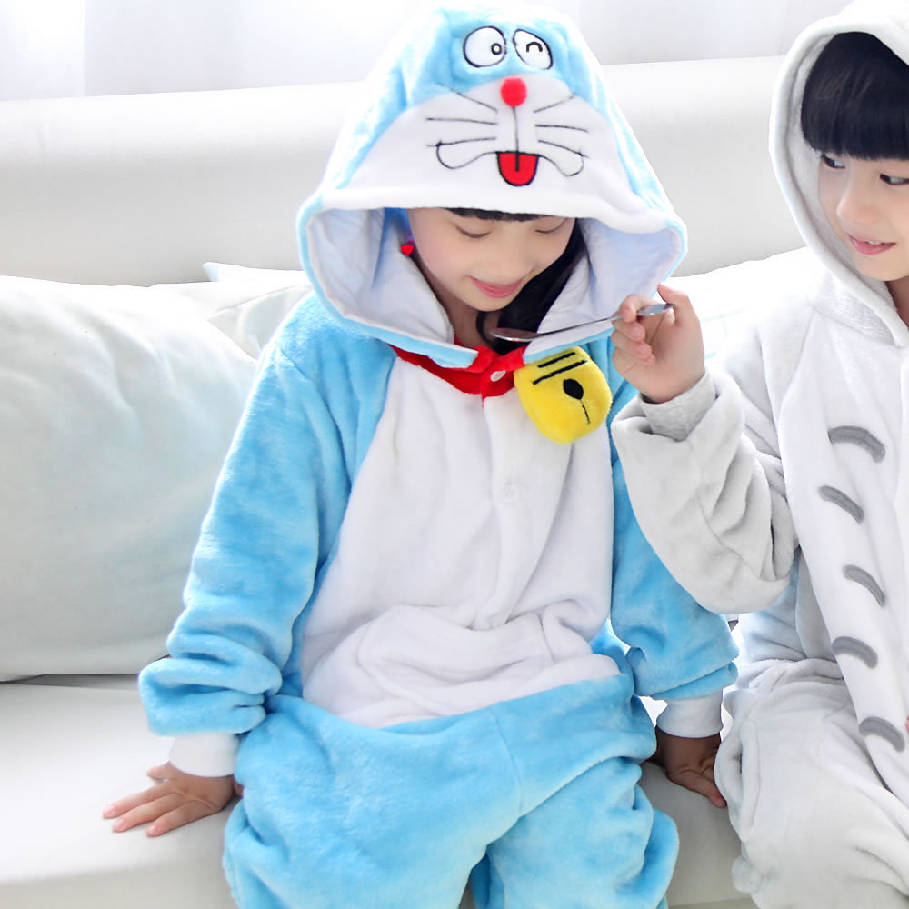 Children Sleepwear Doraemon And Chinchillas Unisex Flannel Hoodie Pajamas  Onesies Sleepwear Hot Sale Free Shipping