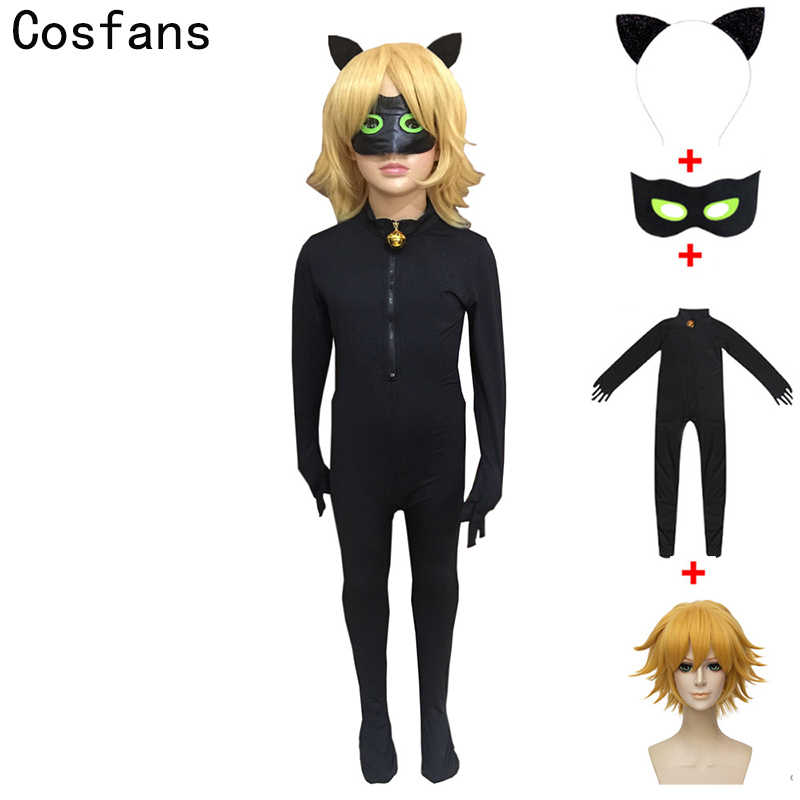 New Black Cat Noir Cosplay Costumes anime Ladybug Jumpsuit   wig For PURIM  child Adrien Marinette 5a4b060bff