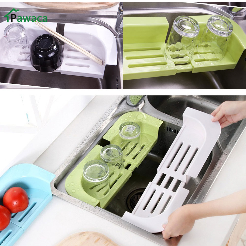 Multifunction Adjustable Fruit Vegetable Drainer Colanders Kitchen Tools Kitchen  Sink Rack Shelf Dish Cutlery Drying Rack