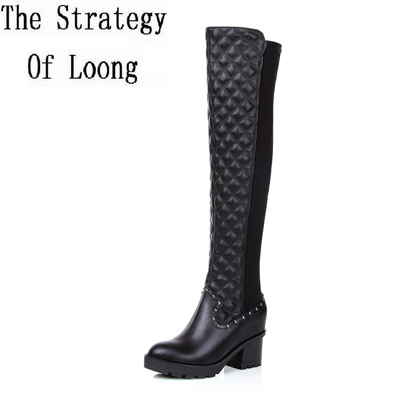 2017 New Women Autumn Winter Low Heel Genuine Leather Pointed Toe Side Zipper Fashion Knee High Boots Size 34-39 SXQ0803 women winter genuine leather low heel rivets pointed toe side zipper fashion over the knee boots plus size 33 43 sxq1013
