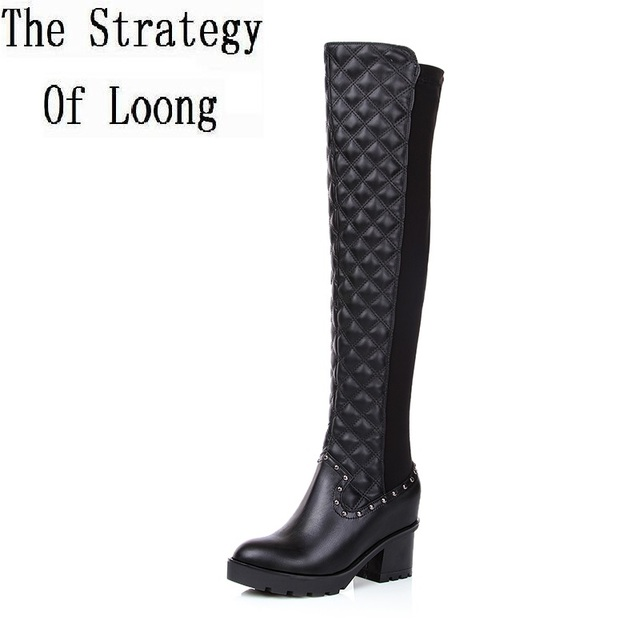 144747f0003 2018 New Women Autumn Winter Low Heel Genuine Leather Pointed Toe Side  Zipper Fashion Knee High Boots Size 34 39 SXQ0803-in Ankle Boots from Shoes  on ...