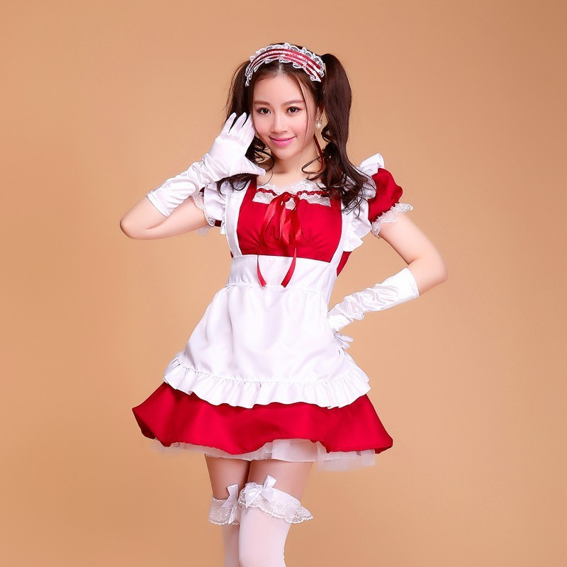 Lolita French Satin Adult Pink Sissy Maid Long Cosplay -7898