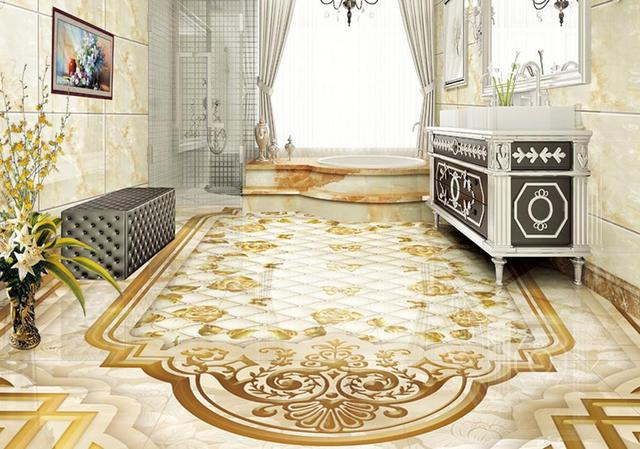 Benutzerdefinierte 3d Bodenbelag Marmor Rose Bodenfliesen Selbstklebende Vinyl Tapete Pvc Rollboden Wasserdichte
