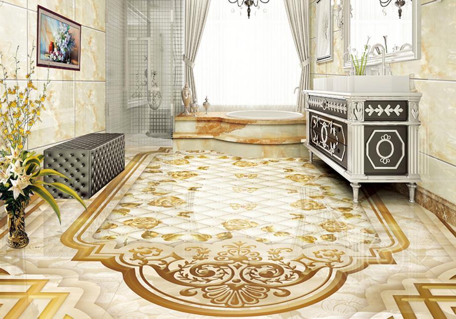 ФОТО custom 3d flooring Marbles Rose 3d floor tiles self adhesive vinyl wallpaper pvc roll flooring waterproof wallpaper
