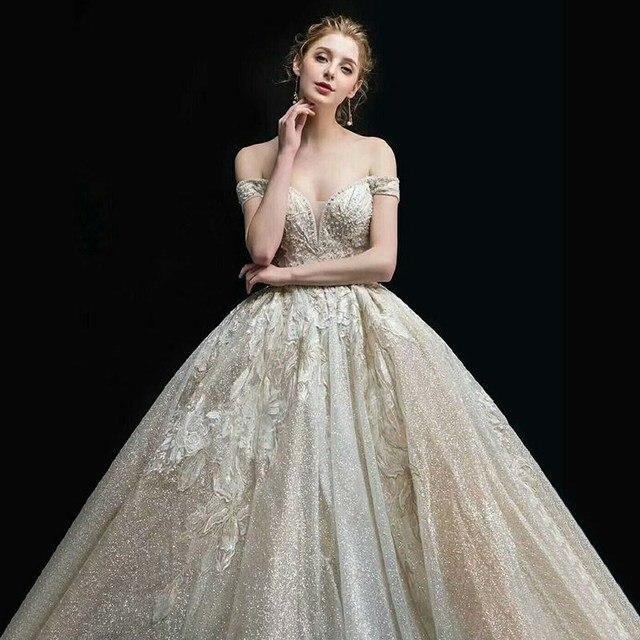 חתונת שמלת 2020 גברת Win את Elelgant קצר שרוול סקסי V צוואר נסיכת יוקרה תחרה רקמה בלינג בלינג חתונה שמלות F