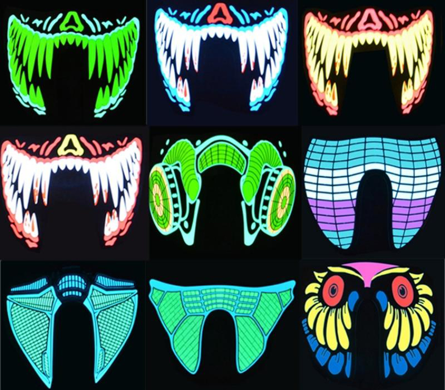 US $13 5 |Drop Shipping Halloween Led Sound Activated Rave Mask Clothing  Big Terror Masks Cold Light Helmet Fire Festival Party Glowing on